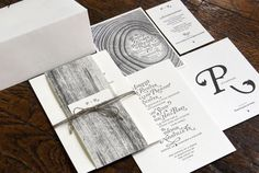 An incredibly sophisticated yet organic wedding invitation set