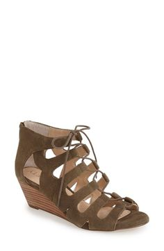 sesame suede Sole Society 'Freyaa' Wedge Sandal (Women) available at #Nordstrom