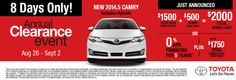 There's only 8 days left of our Annual Clearance Event! Checkout the 2014.5 ‪#‎Toyota‬ ‪#‎Camry‬ online, and then hurry over to Priority Toyota Chesapeake, because these deals are going fast! http://prioritytoyotachesapeake.com/Hampton-Roads/For-Sale/New/Toyota/Camry/