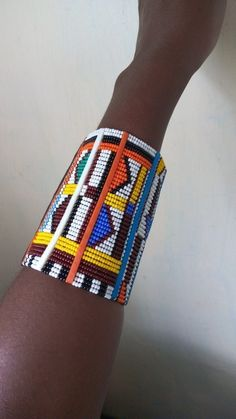 ON SALE Masai beaded bracelet, African beaded bracelet, Masai handcuff, Unisex bracelet, Gift for he African Beaded Bracelets, African Beads Necklace, African Jewelry, Bracelets For Men, Handmade Bracelets, Silver Bracelets, Beaded Earrings, Beaded Jewelry, Beaded Necklaces