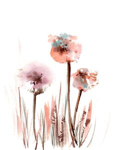 Minimalist Art Print from Watercolor Painting of Dandellions, Floral Watercolour Wall Art by CanotStopPrints on Etsy Watercolor Flowers, Watercolor Paintings, Watercolour, Painting Art, Fine Art Amerika, Dandelion Painting, Minimal Art, Minimalist Painting, Flower Artwork