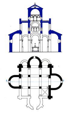 GERMIGNY DES PRES : l'oratoire de Théodulfe, Vers 806. Plan et coupe de l'édifice originel- 8) le mosaïste de Germigny qui connaît bien les usages de Byzance, s'il n'est pas Romain (Byzantin) lui-même, a renoncé à la représentation de la Mère de Dieu par une image équivalente sur le plan symbolique. L'arche d'alliance qui contient la manne, le pain descendu du ciel, est tenu par les exégètes chrétiens pour une préfiguration de la Ste Mère qui tient le Christ, né à Bethléem, la ville du pain.