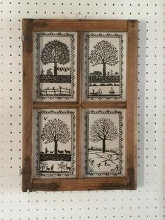 Jahreszeiten in antikem Fenster mit alten Beschlägen Paper Cutting, Frame, Home Decor, Home, Papercutting, Embroidery, Cut Paper Art, Picture Ideas, Seasons Of The Year
