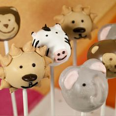 Animal cake pops - THIS is a good reason to make them, in my opinion !! @Sara Cheng