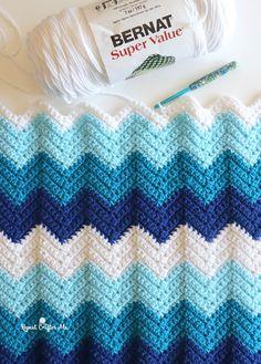 Punto Zig Zag Crochet, Chevron Crochet Blanket Pattern, Crochet Ripple Afghan, Easy Crochet Stitches, Chevron Blanket, Manta Crochet, Easy Crochet Baby Blankets, Easy Crochet Afghan Patterns, Easy Things To Crochet