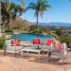 The combination of natural and industrial looking elements compliments any style of decor and the aluminum and water resistant cushions make this set an immediate statement.