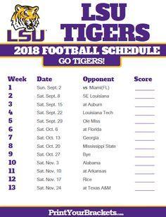 2018 Printable Lsu Tigers Football Schedule Lsu Tigers Football Lsu Lsu Football Schedule