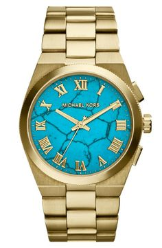 Michael Kors 'Channing' Turquoise Dial Bracelet Watch