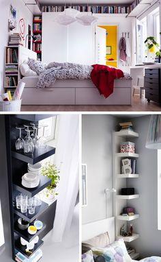 Ogromną zaletą półki LACK (tej, którą można wieszać wpionie lub poziomie) jest to, żemożna ją wykorzystać wszędzie tam, gdzie zpozoru nie ma już miejsca nanic, np.w szparze między szafą aścianą, między oknami, przy łóżku, gdzie posłuży także zastolik nocny.