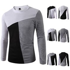 New Mens Casual Slim Fit Shirt 3 Color Long Sleeve Round Neck T-Shirt Tops Tee # - Mens Shirts Casual - Ideas of Mens Shirts Casual - New Mens Casual Slim Fit Shirt 3 Color Long Sleeve Round Neck T-Shirt Tops Tee Sports Shirts, Boys Shirts, Casual Shirts For Men, Men Casual, Polo Shirt Design, Big Men Fashion, Well Dressed Men, Gentleman Style, Mens Sweatshirts