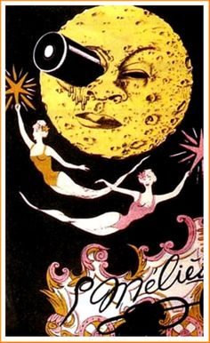 Poster for the famous 1902 film, Le Voyage Dans La Lune (A Trip to the Moon, aka Voyage to the Moon) directed by Georges Méliès Art And Illustration, Illustrations, Kunst Poster, Paper Moon, Moon Art, Moon Child, Stars And Moon, Vintage Posters, Images