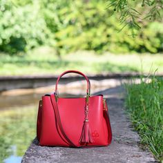 Crafted from soft plain leather, our Eloi tote bag from C'iel is a thoughtful update to a timeless silhouette. Red Tote Bag, Shoulder Strap, Silhouette, Fabric, Leather, Bags, Tejido, Handbags, Tela