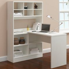 Latitude Run Yeadon L-Shape Writing Desk with Hutch Finish: White Home Office Space, Home Office Desks, Home Office Furniture, Furniture Deals, Office Decor, Office Ideas, Desk Ideas, Small Office, Furniture Stores