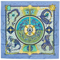 Hermes Reves d'Australie scarf. Mine has a charcoal border, and muted multi-colours.