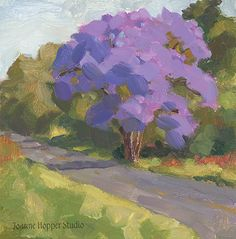 First Jacaranda by Joanne Hopper Oil on Panel ~ 6 x 6 Inches