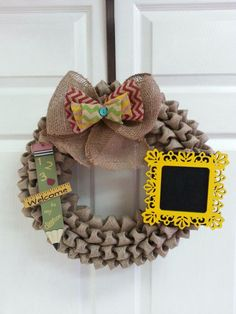 Teacher Wreath, Burlap Wreath, Bubble Burlap, Chevron, Door Decor, Birthday Gift, Teacher Door Hanger, All Seasons Wreath, Door Hanger on Etsy, $59.99