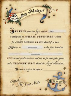 pirate party invitation template