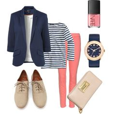 I have a navy jacket in my closet, & coral skinnies...never thought to wear them together!