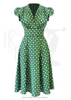 1930s 40s Ava Tea Dress in Emerald Deco Dot