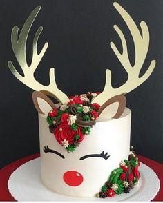 "1,507 Likes, 11 Comments - Brookie's Cookies (@brookiescookiesco) on Instagram: ""The cutest reindeer cake I ever did see!! ❤️ by @_jumorais_ #cake #ideas #christmas #holidays…"""