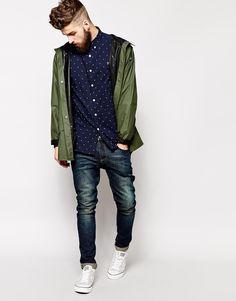 Shirt & denim- nice color combo, too