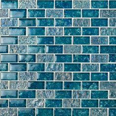 Ivy Hill Tile Marina Iridescent x Glass Mosaic Tile in Blue Stone Mosaic Tile, Mosaic Glass, Glass Subway Tile, Glass Tiles, Glass Brick, Glass Art, Sanded Grout, Glass Installation, Blue Tiles
