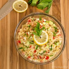 This easy couscous salad is bursting with lemon flavor and highlighted with mint and feta cheese.
