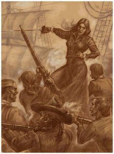 Vintage illustration of Grace O'Malley, famed real-life Irish pirate of the Elizabethan era.