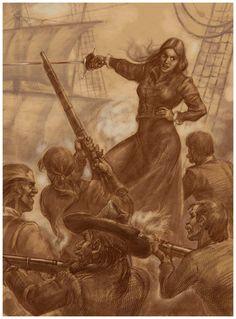 Vintage illustration of Grace O'Malley, famed real-life Irish pirate of the Elizabethan era.