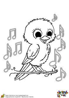 Coloriage d'un bébé oiseau qui chante sur une branche