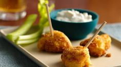 Buffalo Chicken Bites with Blue Cheese Dipping Sauce Enjoy these fried chicken bites coated with Bisquick® mix and cornmeal mixture. Serve these appetizers with dipping sauce.