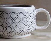 Black and White Diamond Tea or Coffee Mug. Grey inside. Geometric design. Modern ceramic porcelain mug.