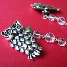 Sweater Clip with Silver Owls and Faceted Glass Rounds