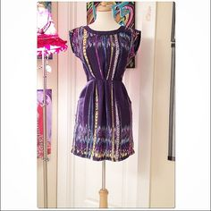 BeBop Cute Royal Purple Print Tribal Ika Dress Belted Tie Waist With Back Exposed Zipper.  Dress is well made & includes sewn in pockets. Tag says size S, fits like XS. BeBop Dresses