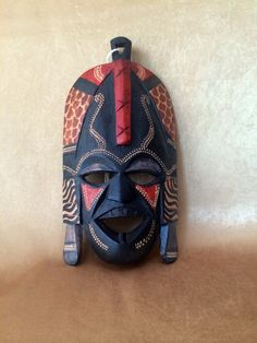 African Face Mask, Hand Carved Mask, Kenya Art Mask, Carved and Painted, Wood Tribal Mask, Primitive Wall Art, African Home Decor, Colorful