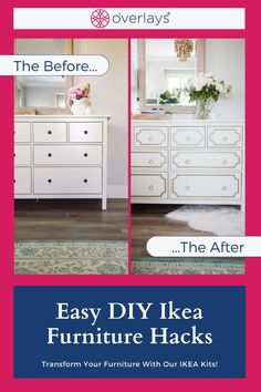 With My O'verlays Ikea Furniture Kits for the Ikea Hemnes Dresser and more, you can totally transform your rooms aesthetic. DIY your furniture with our variety of different panels and sizes. Create a custom order that fits your dream room! Diy Your Furniture, Ikea Furniture Makeover, Ikea Furniture Hacks, Furniture Decor, Diy Design, Design Ideas, Hemnes, Dream Home Design, Home Decor Inspiration