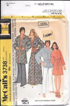 VTG Uncut 1973 McCalls Pattern 3738 Mens or Womens Bath Robe Sz Sm Bust  30-32. Disco Fashion ... 947df30ec