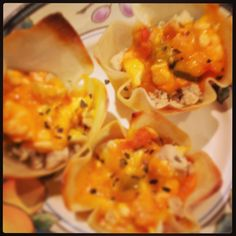 High protein wontons! I made two types refried beans or ground chicken and shrimp! Soy Wonton wrappers can be filled with anything! Use fat free cheddar and salsa to keep low cal...bake in greased cup cake tray 10 mins at 350