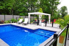 Inground Pool Designs, Backyard Pool Designs, Small Backyard Pools, Pool Decks, Pool Landscaping, Backyard Patio, Outdoor Pool, Outdoor Spaces, Modern Pool House
