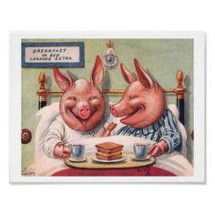 Vintage Poster - Pigs in Bed  A delightful series of vintage illustrations depicting animal couples having breakfast in bed. This o...