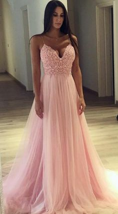 2018 prom dress, long prom dress, straps pink long prom dress formal evening dress