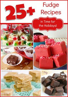 25+ Fudge Recipes ~ >Dark Chocolate Wonder Fudge >Snickers Fudge Bites >Dove Fudge >Candy Cane Fudge >Goody Gumdrops Fudge >Chocolate Fudge >Mimosa Fudge & MORE! Recipe @: http://momstestkitchen.com/2013/12/25-fudge-recipes-time-holidays.html