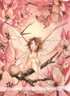 ACEO Pink Blossom Pixie by JoannaBromley on deviantART