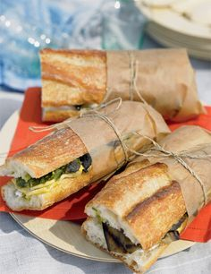 (Marinated Vegetable Sandwiches with Goat Cheese and Pesto) nice way to tie up Picnic Sandwiches, Wrap Sandwiches, Marinated Vegetables, Veggie Sandwich, Pub Food, Picnic Foods, Pesto, Recipe Collection, Finger Foods