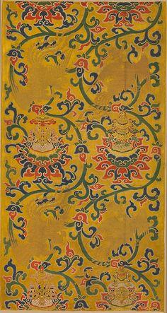 #Textile  --  Textile Panel with Phoenixes & Lotuses  --  Ming Dynasty (1368-1644)  --  Satin brocaded with silk & metallic thread  --  Metropolitan Museum of Art