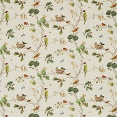 Woodland Chorus Fabric A pleasing fabric with a realistic depiction of our favourite British birds including woodpeckers wrens, robins and a pair of blue tits on their nest alongside butterflies and other insects making their home in a modern tree of life. Digitally printed with a watercolour effect in true to life colours on a natural linen coloured ground. The design is inspired by an 18th century painting of plants and animals.