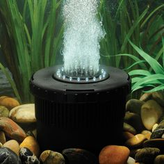 Features: -Aerates, filters, and beautifies your pond. -Energy efficient 280 GPH pump provides oxygen to your pond. -Use during winter to resist ice formation. -White LED lights illuminate the bub Backyard Water Feature, Ponds Backyard, Backyard Ideas, Garden Ponds, Garden Ideas, Backyard Projects, Outdoor Ideas, Garden Art, Garden Design