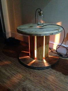Cable drum table with center light