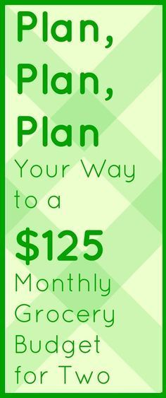$125 Monthly Grocery Budget for Two Meal Planning Budget Recipes