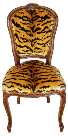1940s Scalamandré Le Tigre Walnut Chair